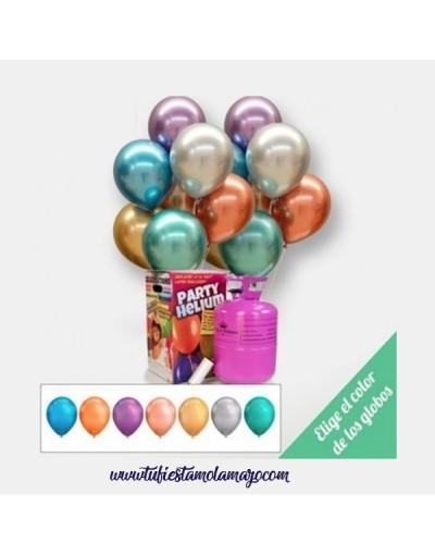 Pack de helio con Globos Cromados