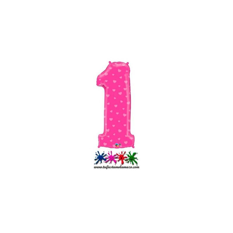 1 x Globo de foil color rosa con corazones de número uno