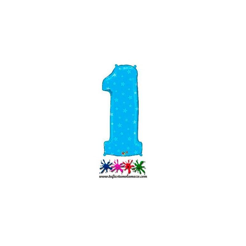 1 x Globo de foil color azulcon corazones de número uno