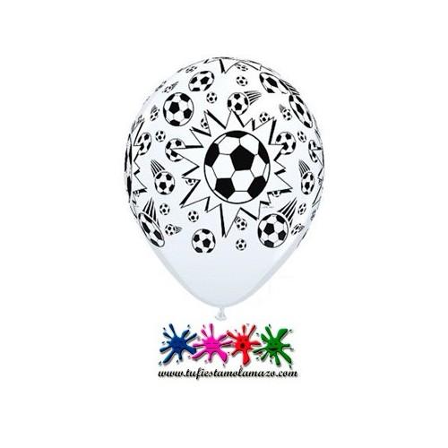 Globo látex con balones de fútbol