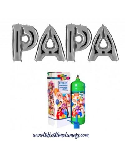 Pack Feliz Día Papa Plata con Helio