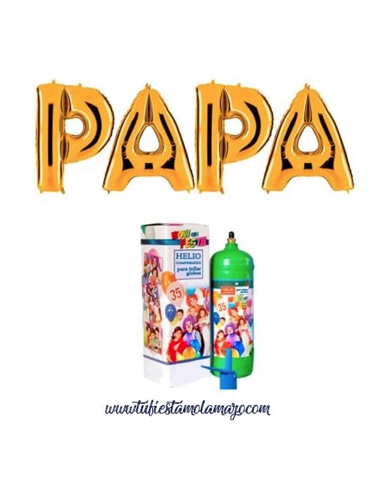 Pack Feliz Día Papa Dorado con Helio