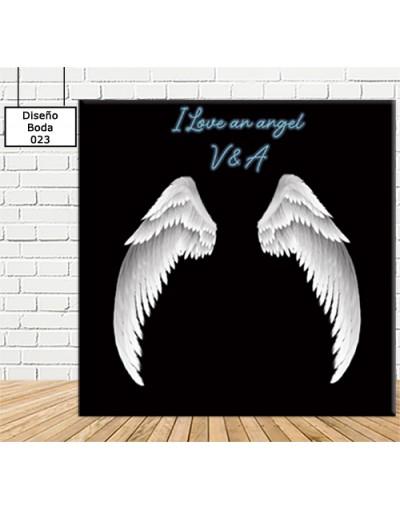 Photocall boda ángel