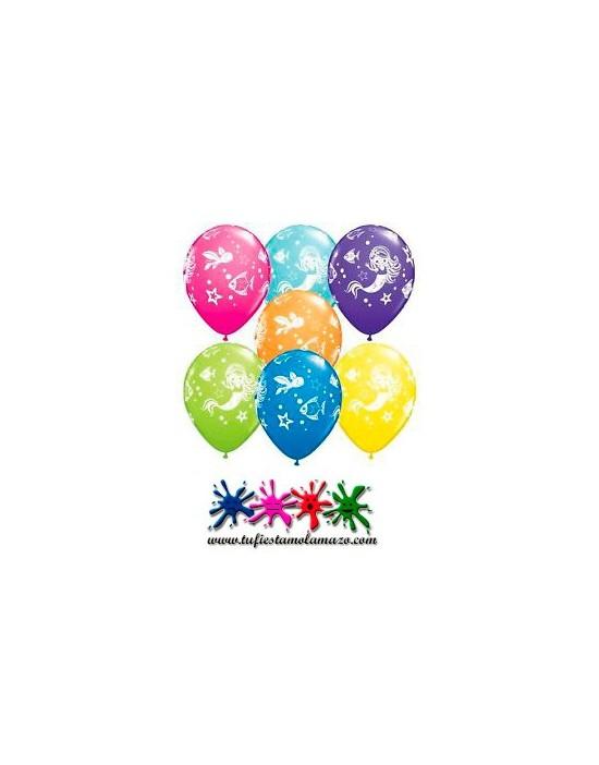 25 x Globo de látex de colores con la sirenita y sus amigos