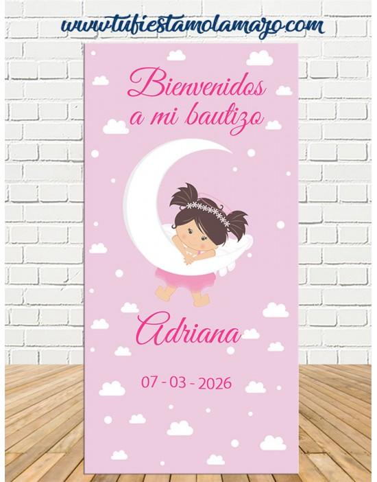 Cartel Bienvenida Bautizo Ángel niña