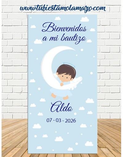 Cartel Bienvenida Bautizo Ángel niño