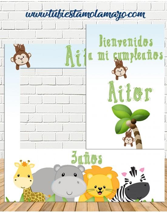 Photocall y cartel de selva