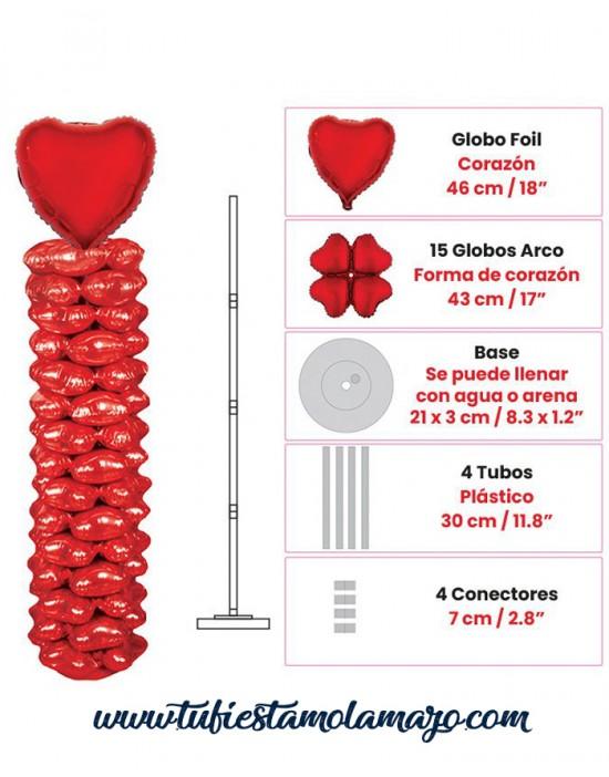 Set Completo Columna de Globos Corazón