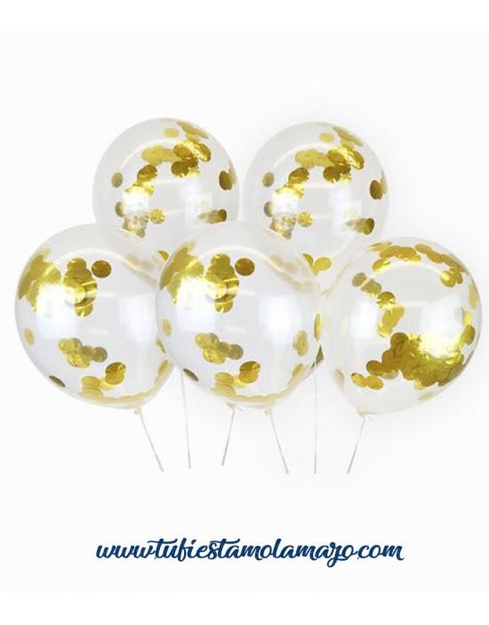 Globo confeti dorado