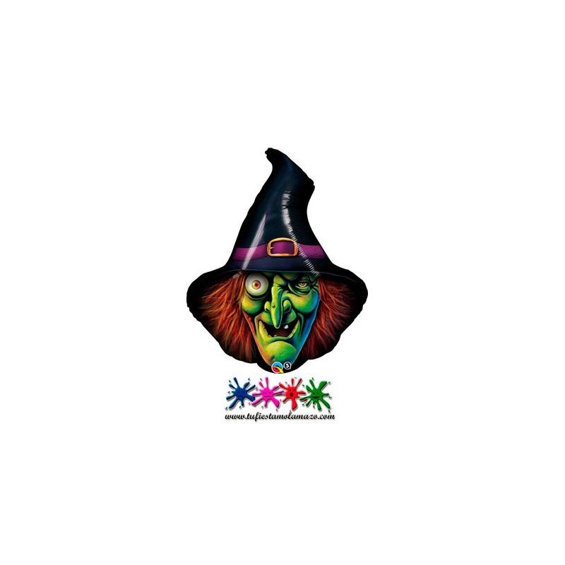 Globo cabeza de bruja de Halloween