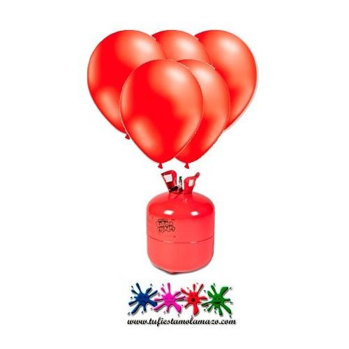 Pack bombonas de helio Maxi más 50 globos Rojo