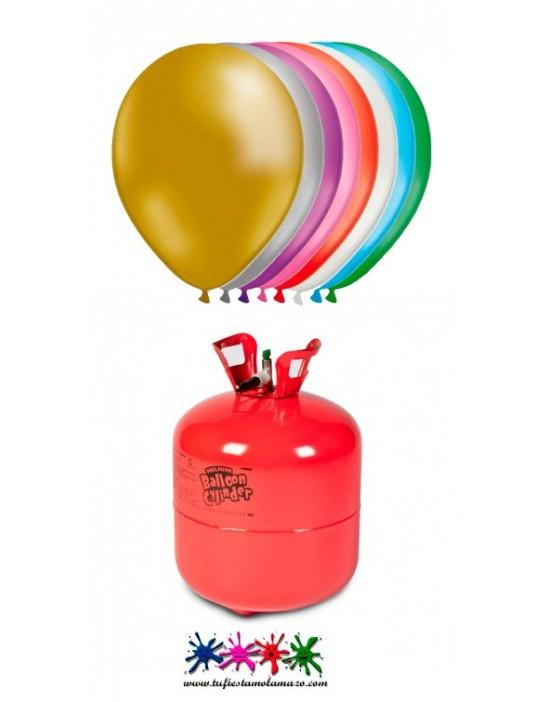 Pack de bombona de helio Maxi más 50 globos de colores metalizados