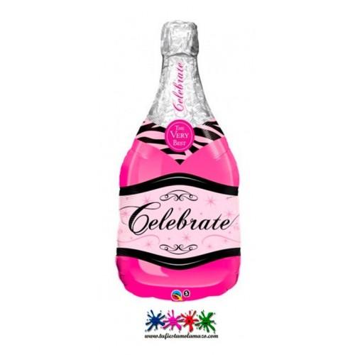 Globo de foil con forma de botella de Champagne en rosa 99cm.