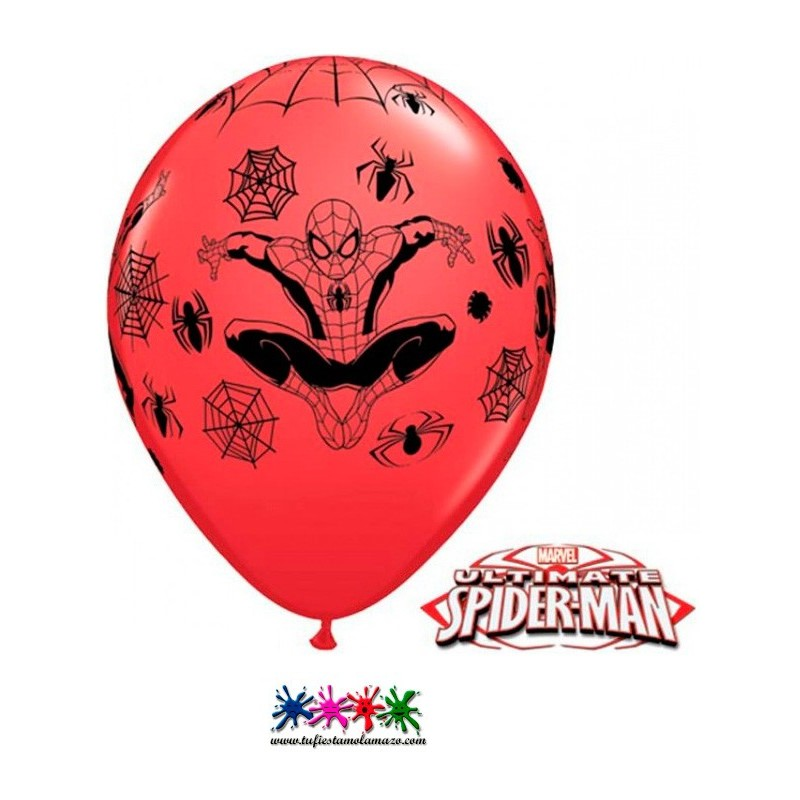 25 x Globo de látex en rojo de Spiderman
