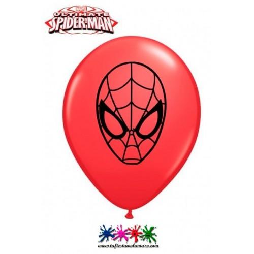 10 x Globo de látex con la cara de Spiderman