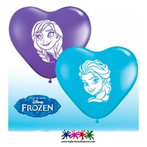 10 x Globo de látex de corazon azul de Anna y Elsa