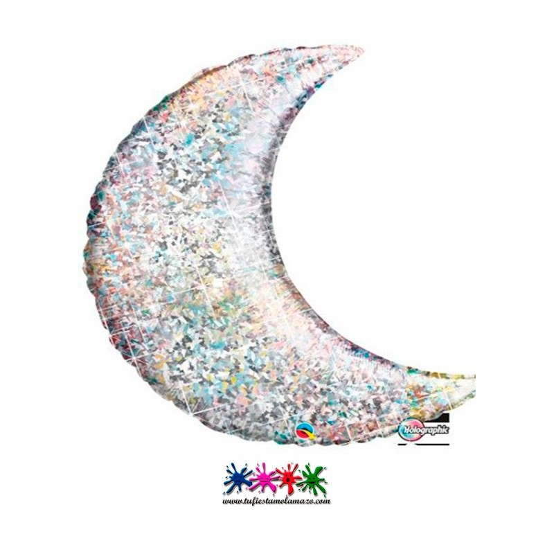 1 x Globo de foil de media luna Plata Holográfico 89 cm