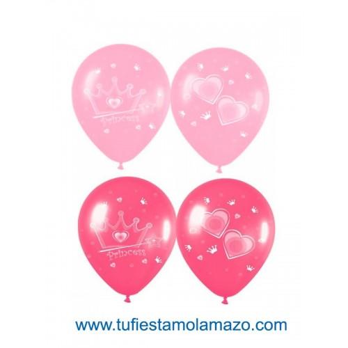 25 x Globos de princesas a dos colores: Rosa y Fucsia