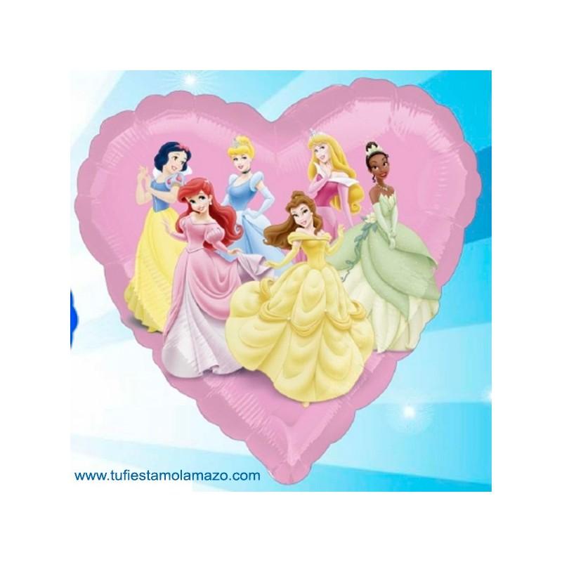 1 x Globo de foil de princesas con forma de corazón 46 cm.