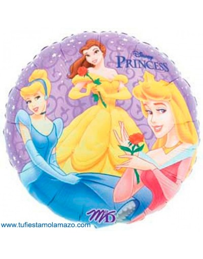 1 x Globo de foil redondo de princesas 46 cm.