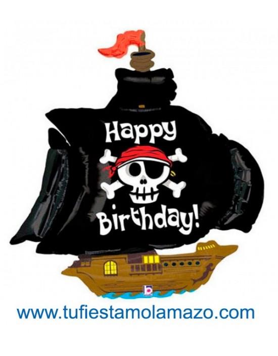 "Globo de foil de barco Pirata ""Happy Birthday"" 116 cm."