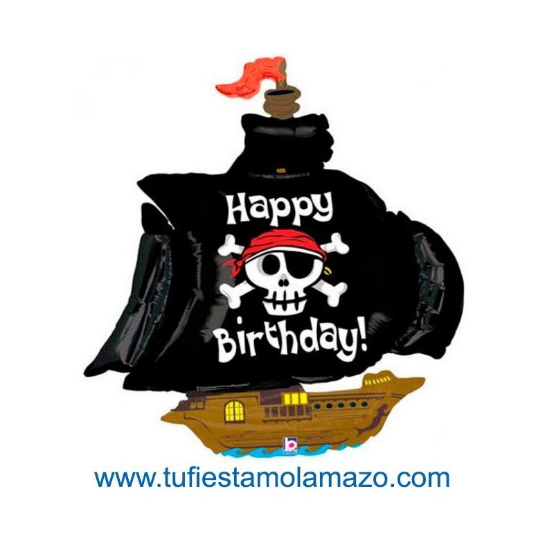 Globo de foil de barco Pirata Happy Birthday