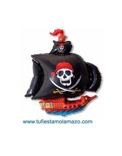 1 x Globo de foil de barco Pirata en negro 78 cm.