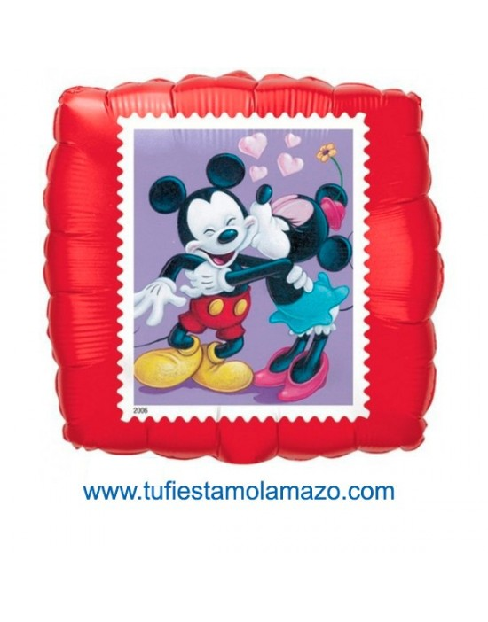 1 x Globo de foil cuadrdo de Minnie y MickeyMouse 46 cm.