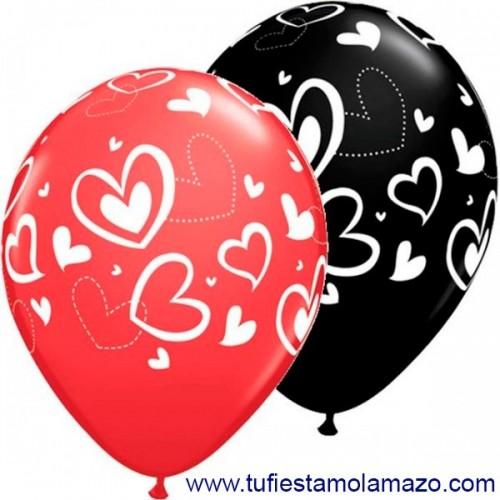Globo de látex negro y rojo con corazones cruzados