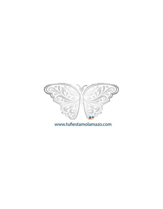 Globo de foil de mariposa plateada 111 cm.