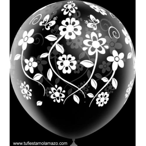 Globos de látex transparentes con flores