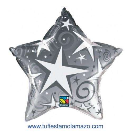 1 x Globo de foil con forma de estrella plateada 91 cm.