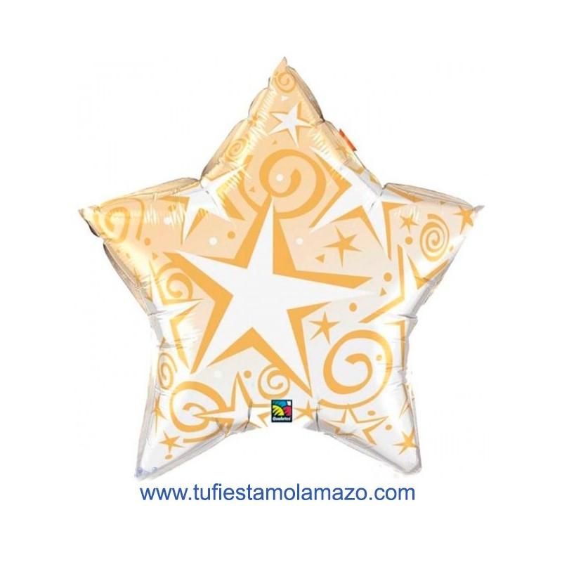 1 x Globo de foil con forma de estrella dorada 91 cm.