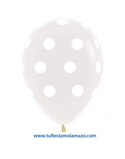 24 x Globo de látex transparante con topos blancos