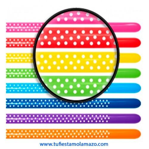 Globos para globoflexia color variados con topos 260 q