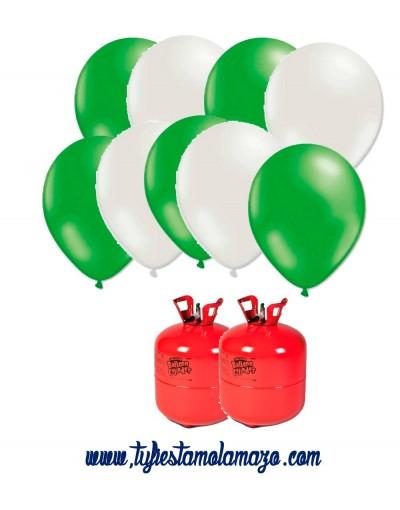 Pack 2 botellas de helio más 100 globos blancos y verdes
