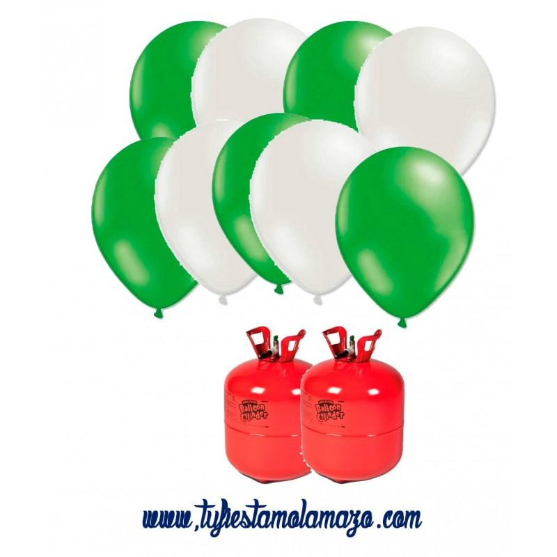 Pack 2 bombonas de helio maxi más 50 globos blanco y 50 azul metalizados