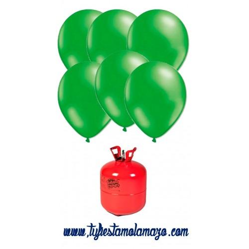 Pack de helio Maxi más 50 Globos Verdes