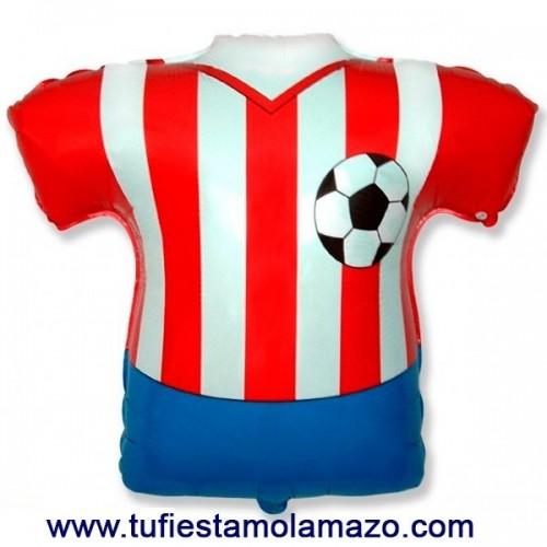 Globo de foil de camiseta blanca y roja 66 x 66 cm.