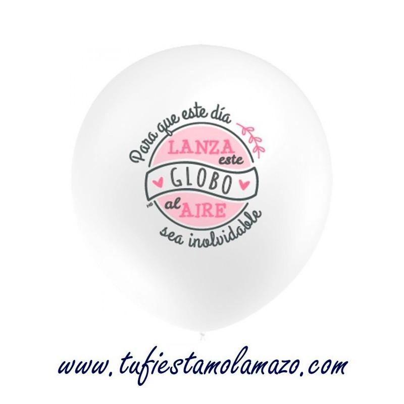 """Globo en blanco """"Lanza este globo al aire"""" Rosa"""