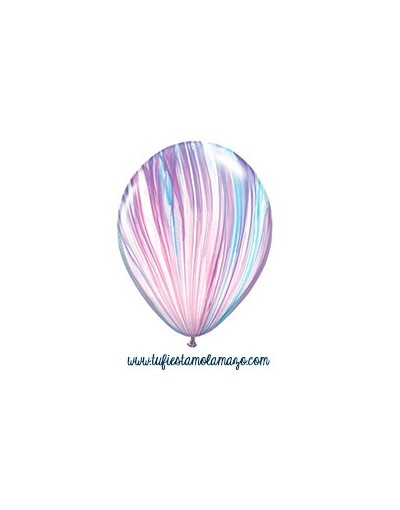 25 x Globo de látex lila, azul y blanco pintado