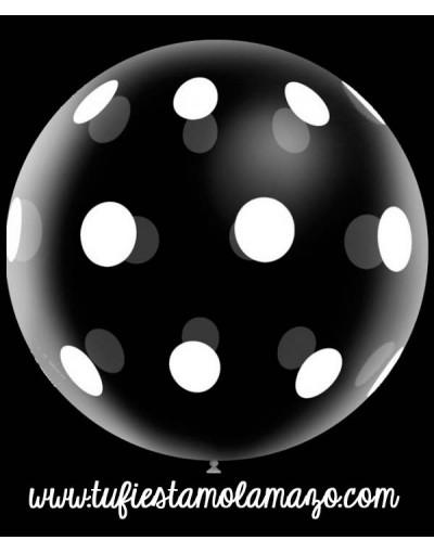 Globo gigantes de látex con topos blancos 3FT 100 cm.