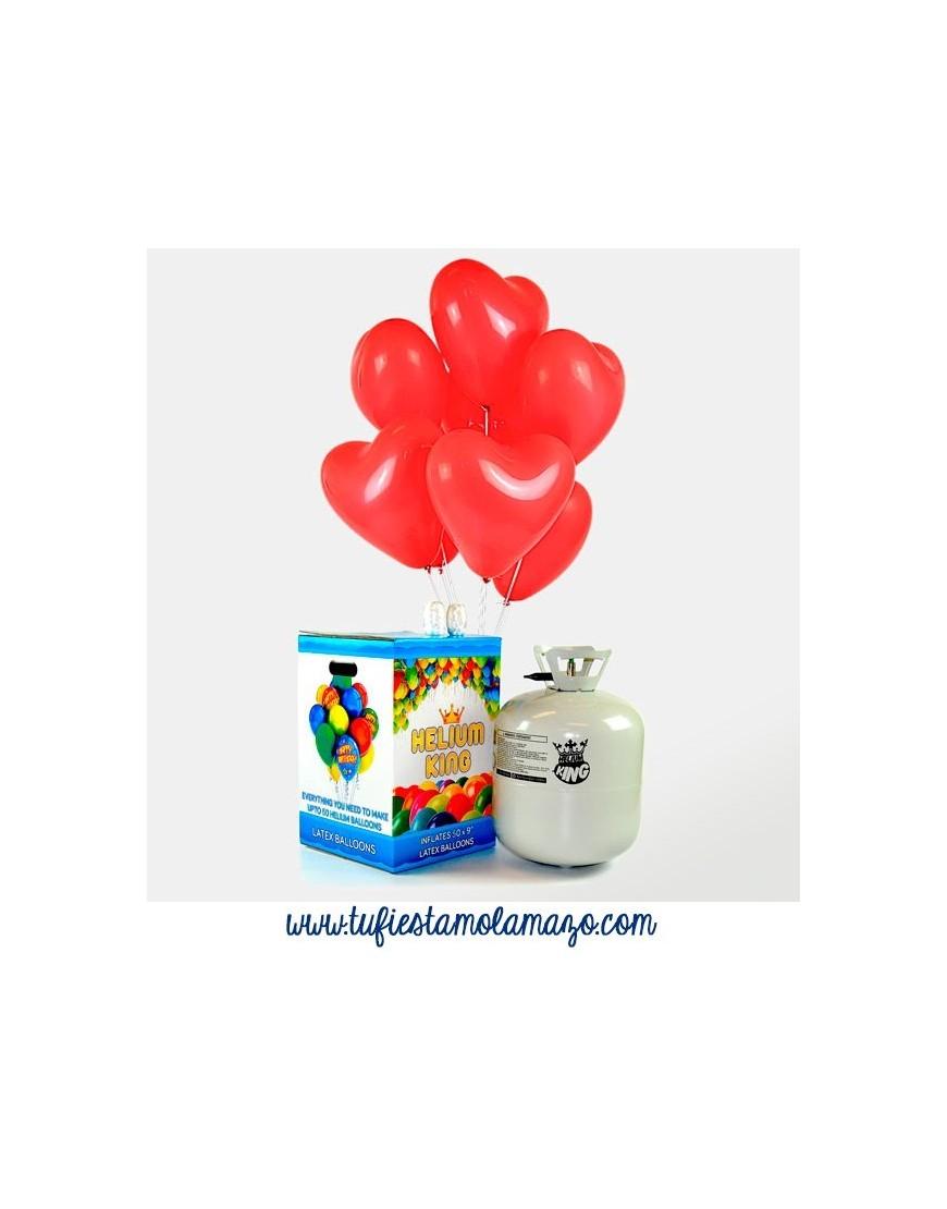 Helio con globos de corazon