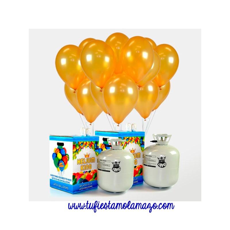 Pack 2 bombonas de helio maxi más 100 globos oro