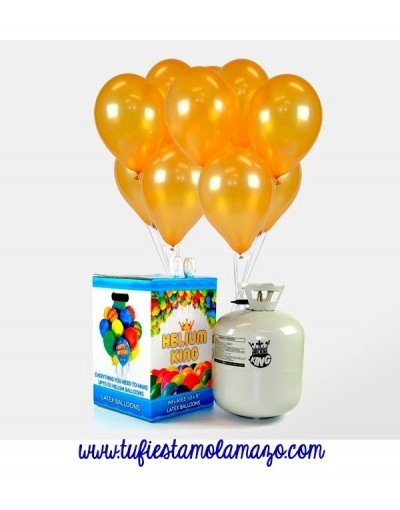 Pack de bombona de helio Maxi más 50 globos dorados
