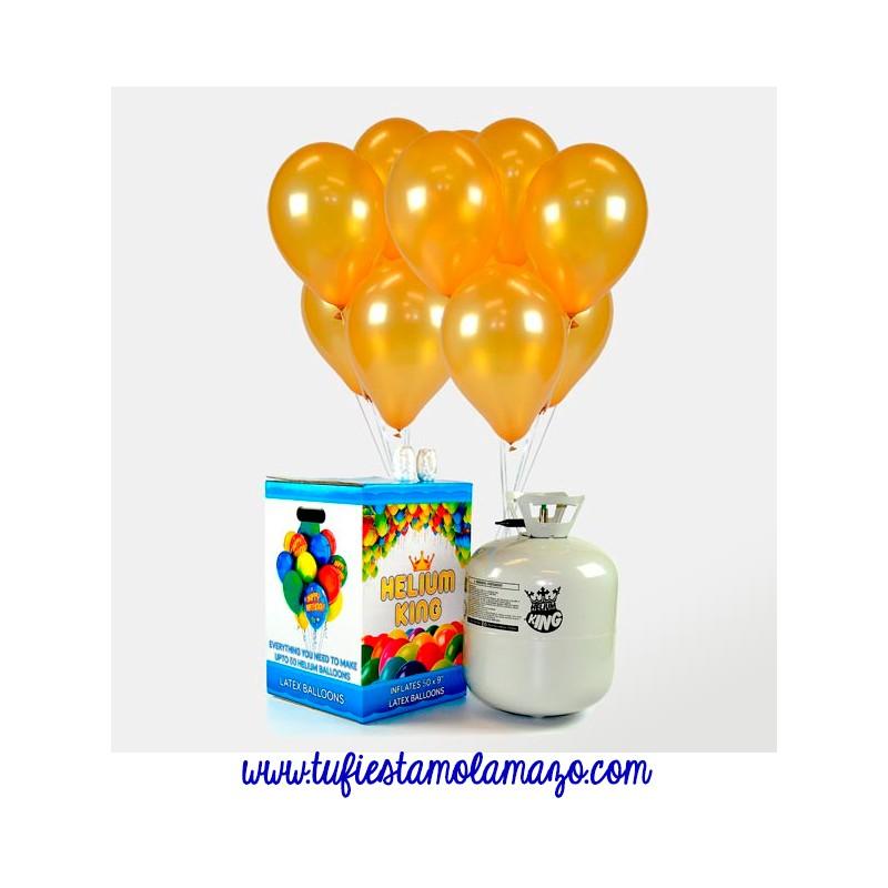 Pack de helio Maxi más 50 globos dorados