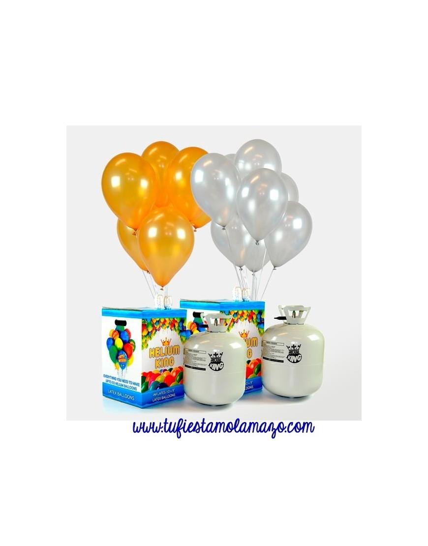 Helio globos dorados y plateados