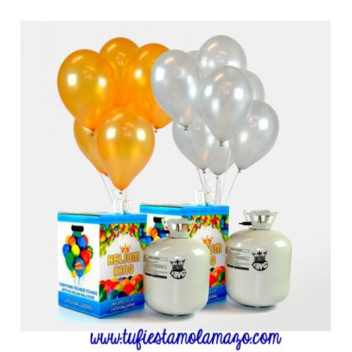 Bombonas de helio maxi más 100 globos plata y oro