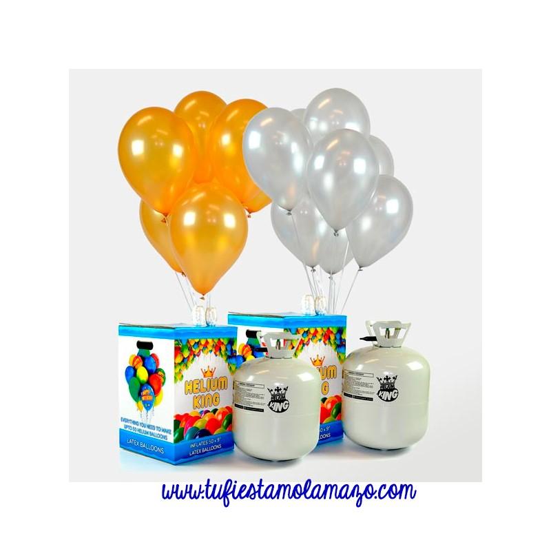 Pack 2 Helio Maxi + 100 Globos Oro&Plata Metalizados
