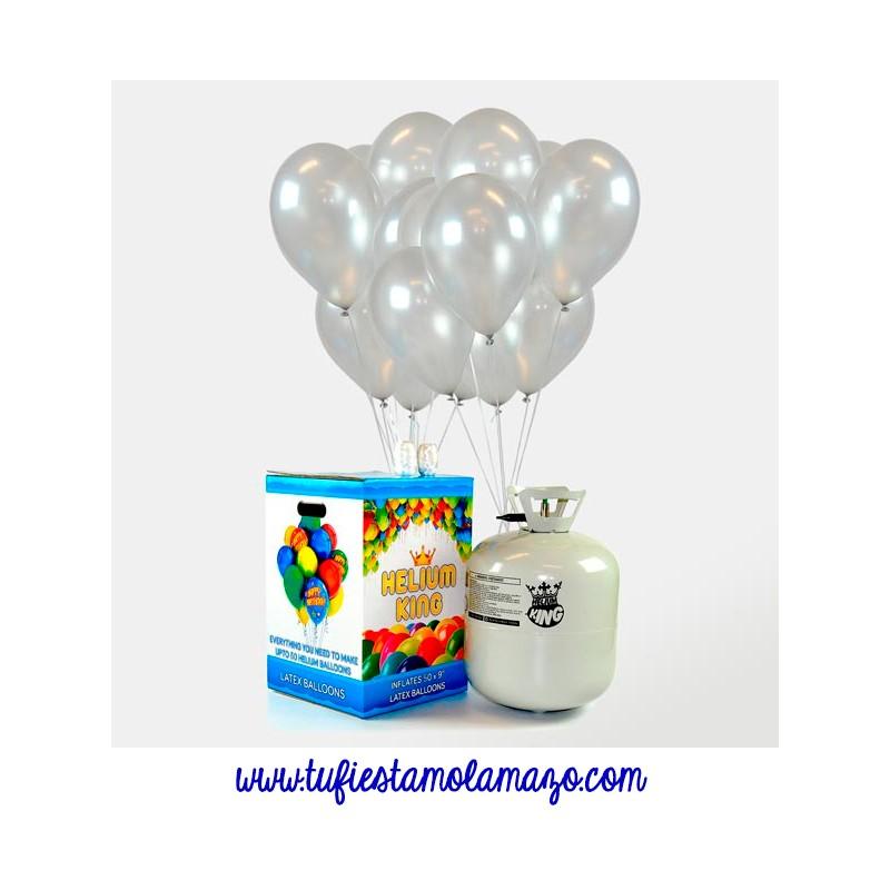 Pack bombona de helio Maxi más 50 globos plata